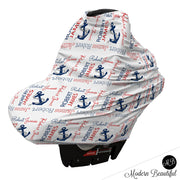 Nautical anchor baby boy or girl car seat canopy cover, nautical anchor baby gift, nautical theme custom infant car seat cover, personalized baby name carseat cover, nursing privacy cover (CHOOSE COLORS)