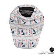 Nautical anchor baby boy or girl car seat canopy cover