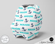 Nautical baby boy or girl car seat canopy cover, anchor baby gift, aqua and navy, custom infant car seat cover, personalized baby name carseat cover, nursing privacy cover, shopping cart cover, high chair cover (CHOOSE COLORS)