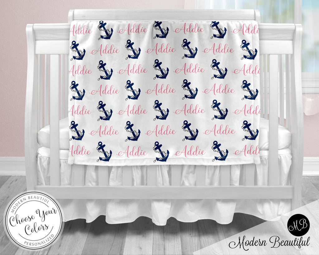 Nautical anchor baby boy or girl name blanket