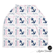 Baby boy or girl nautical anchor car seat canopy cover, pink and navy nautical anchor baby gift, nautical theme custom infant car seat cover, personalized baby name carseat cover, nursing privacy cover (CHOOSE COLORS)