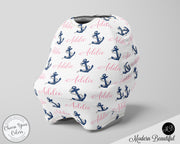 Nautical baby boy or girl car seat canopy cover, anchor baby gift, pink and navy, custom infant car seat cover, personalized baby name carseat cover, nursing privacy cover, shopping cart cover, high chair cover (CHOOSE COLORS)