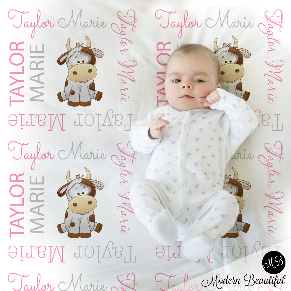 baby girl farm cow name blanket