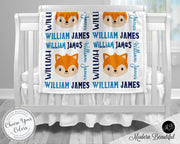 Fox baby name blanket, foxes blanket, fox baby gift blanket, baby swaddling blankets, baby girl or boy, baby name blanket, baby shower gift, personalized baby name blanket(CHOOSE COLORS)