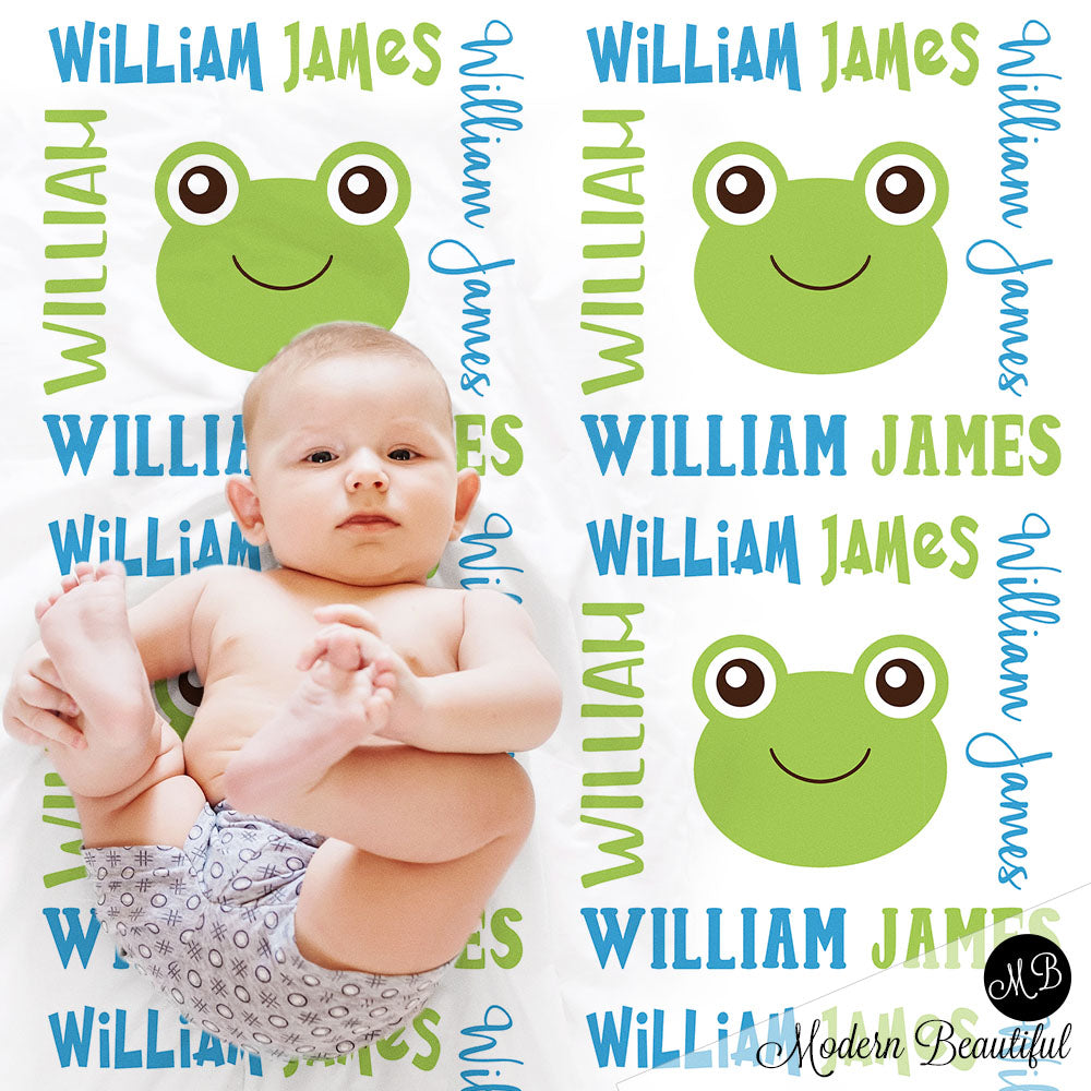 Frog baby name blanket, frogs blanket, frog baby gift blanket, baby swaddling blankets, baby girl or boy, baby name blanket, baby shower gift, personalized baby name blanket(CHOOSE COLORS)