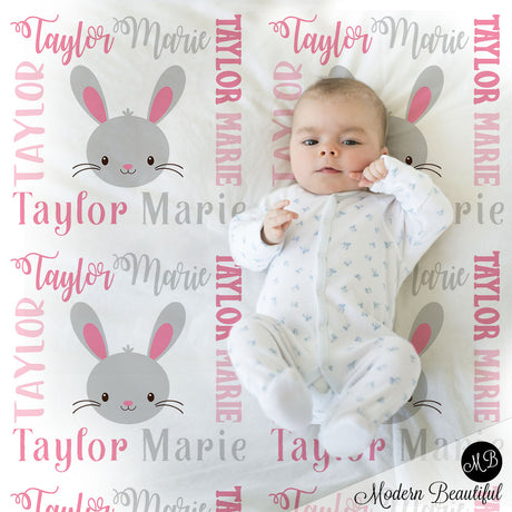 Bunny baby name blanket, girl bunny blanket, forest bunny baby gift blanket, baby swaddling blankets, baby girl or boy, baby name blanket, baby shower gift, personalized baby name blanket(CHOOSE COLORS)