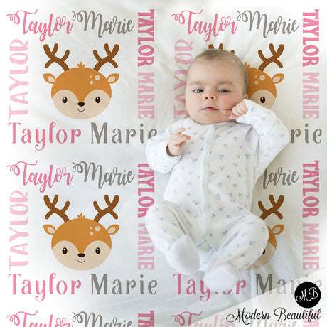 Deer baby name blanket, girl deer blanket, deer baby gift blanket, baby swaddling blankets, baby girl or boy, baby name blanket, baby shower gift, personalized baby name blanket (CHOOSE COLORS)