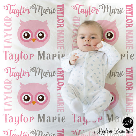 Owl baby name blanket, girl owl blanket, owl baby gift blanket, baby swaddling blankets, baby girl or boy, baby name blanket, baby shower gift, personalized baby name blanket (CHOOSE COLORS)