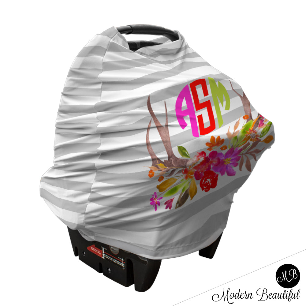 Gray And White Stripe Monogram Baby Girl Or Boy Car Seat Canopy Cover Floral Deer
