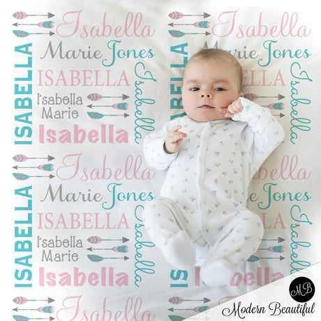 Boho arrow name blanket in teal and pink