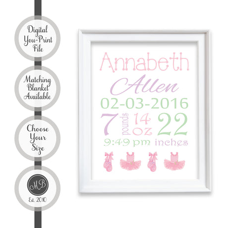Ballet tutu birth stats announcement art, printable birth stat wall art, nursery birth announcement, personalized baby keepsake, baby boy or girl birth stats