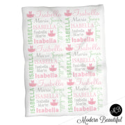 Pink and mint ballet tutu name blanket, ballerina swaddling blanket, baby girl ballet tutu blanket, ballerina blanket, ballerina baby shower gift, (CHOOSE COLORS)