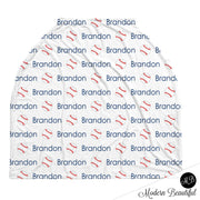 Baseball baby boy or girl car seat canopy cover, baseball baby gift, red and navy, custom infant car seat cover, personalized baby name carseat cover, nursing privacy cover, shopping cart cover, high chair cover (CHOOSE COLORS)