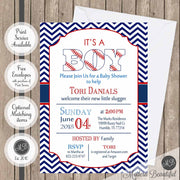 Navy and red baseball boy baby shower invitation