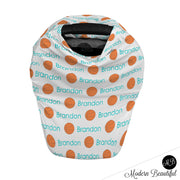 Basketball baby boy or girl car seat canopy cover, basketball baby gift, orange and aqua, custom infant car seat cover, personalized baby name carseat cover, nursing privacy cover, shopping cart cover, high chair cover (CHOOSE COLORS)