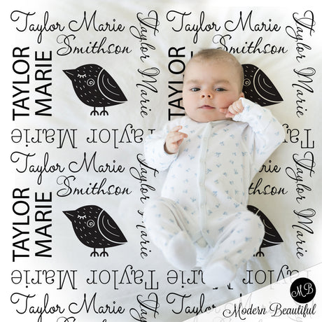black and white baby name blanket bird