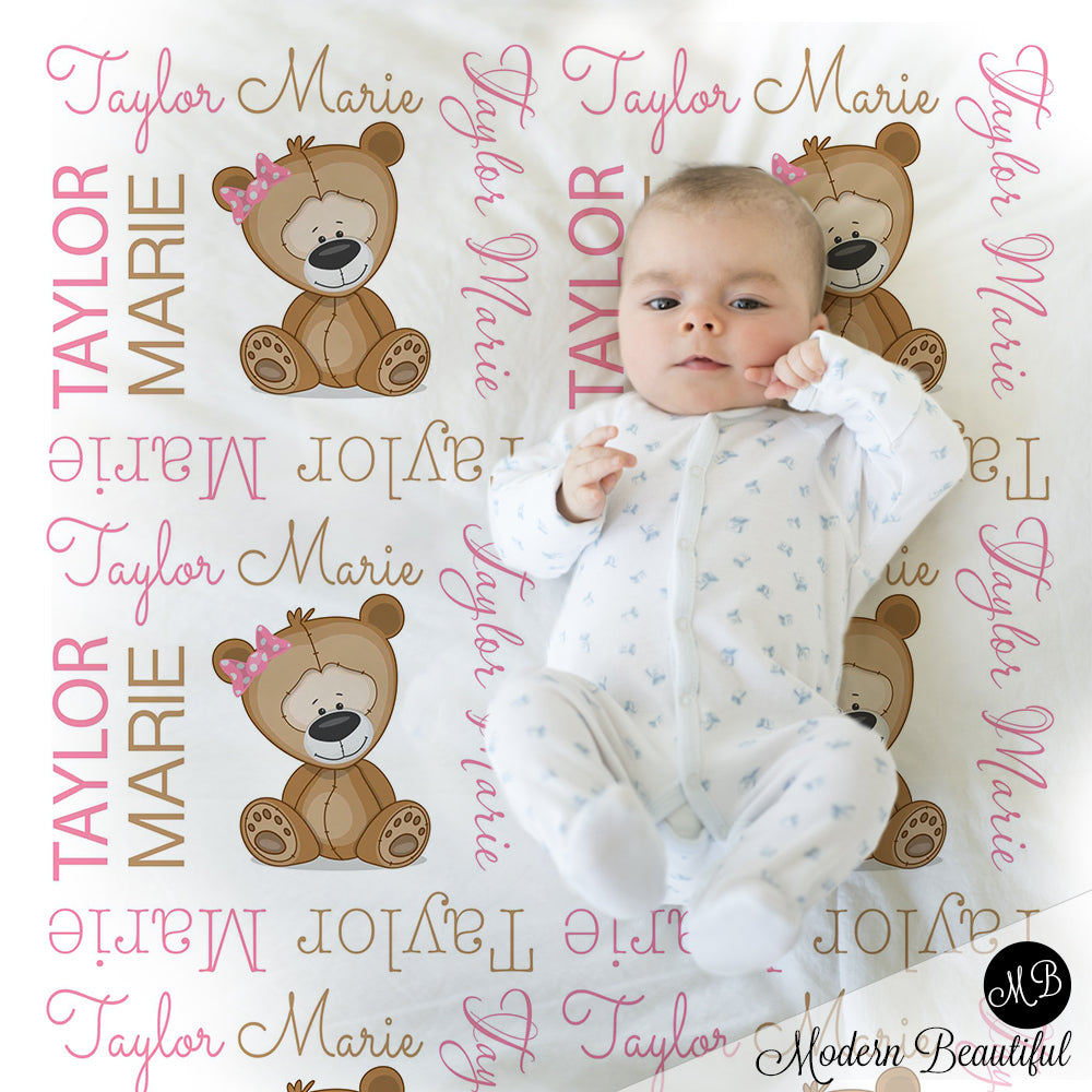 teddy bear baby girl blanket