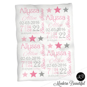 Pink and gray stars baby stats blanket, girl personalized blanket, baby stats blanket, star girl baby blanket, girl baby shower gift, choose colors