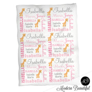 Giraffe Name Blanket in pink and gray for baby girl, personalized baby gift,  photo prop blanket, personalized blanket, choose colors
