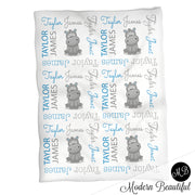 Hippo baby boy personalized blanket, hippo blanket, swaddle blanket , hippo baby shower gift, boy gift, CHOOSE COLOR