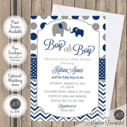 boy oh boy elephant baby shower invitation