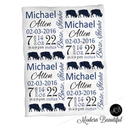 Buffalo baby boy stats blanket, navy and black, buffalo boy baby blanket, personalized buffalo baby blanket, baby stats blanket, boy or girl stats swaddle blanket, baby shower gift, choose colors