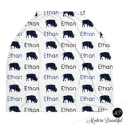 Buffalo baby boy or girl car seat canopy cover, buffalo baby gift, navy and black, custom infant car seat cover, personalized baby name carseat cover, nursing privacy cover, shopping cart cover, high chair cover (CHOOSE COLORS)