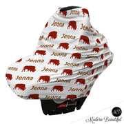 Buffalo baby boy or girl car seat canopy cover, buffalo baby gift, red and brown, custom infant car seat cover, personalized baby name carseat cover, nursing privacy cover, shopping cart cover, high chair cover (CHOOSE COLORS)