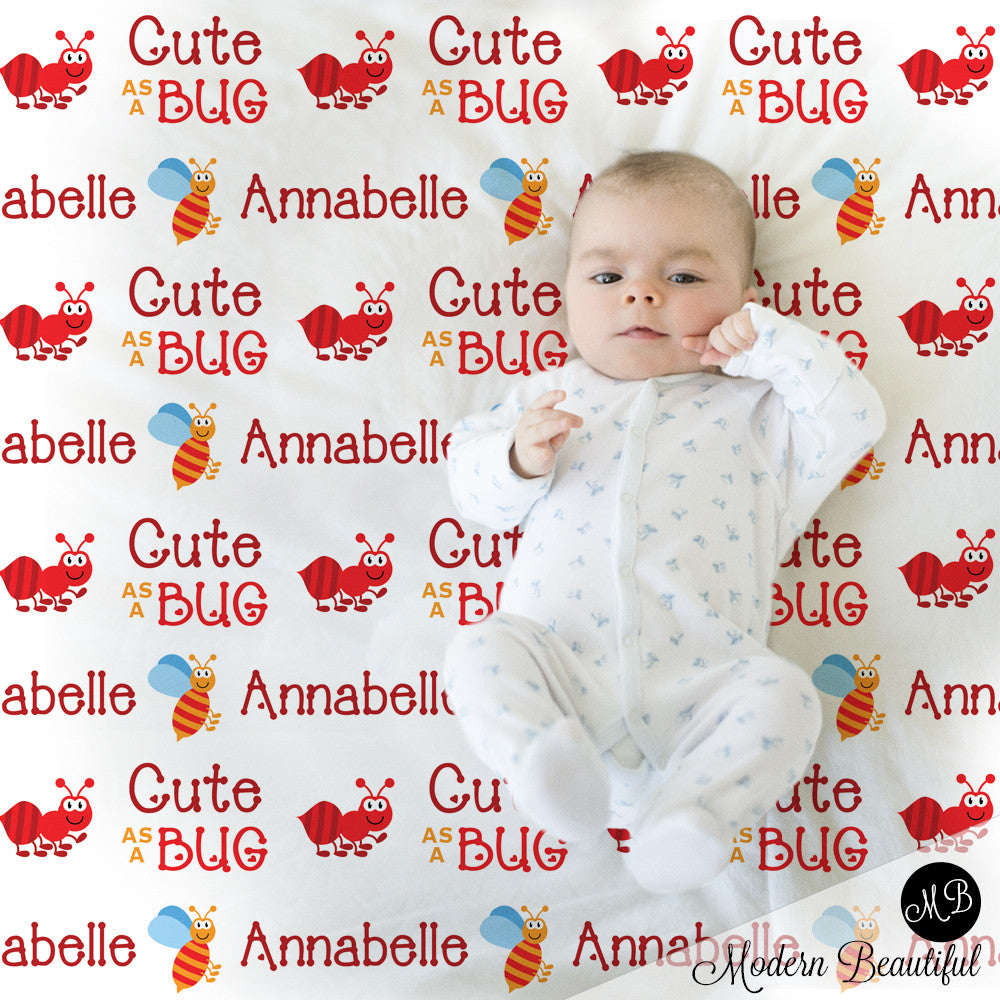Bugs Name Blanket for Girl, personalized baby gift photo prop blanket, cute as a bug, personalized blanket, choose your colors