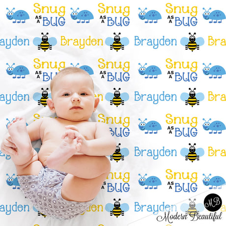 Bugs Name Blanket for Boy, personalized baby gift photo prop blanket, snug as a bug, personalized blanket, choose your colors