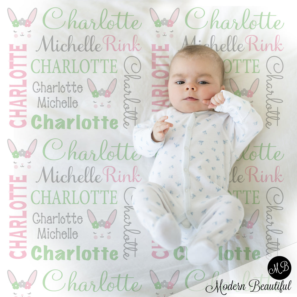 Bunny baby girl name blanket