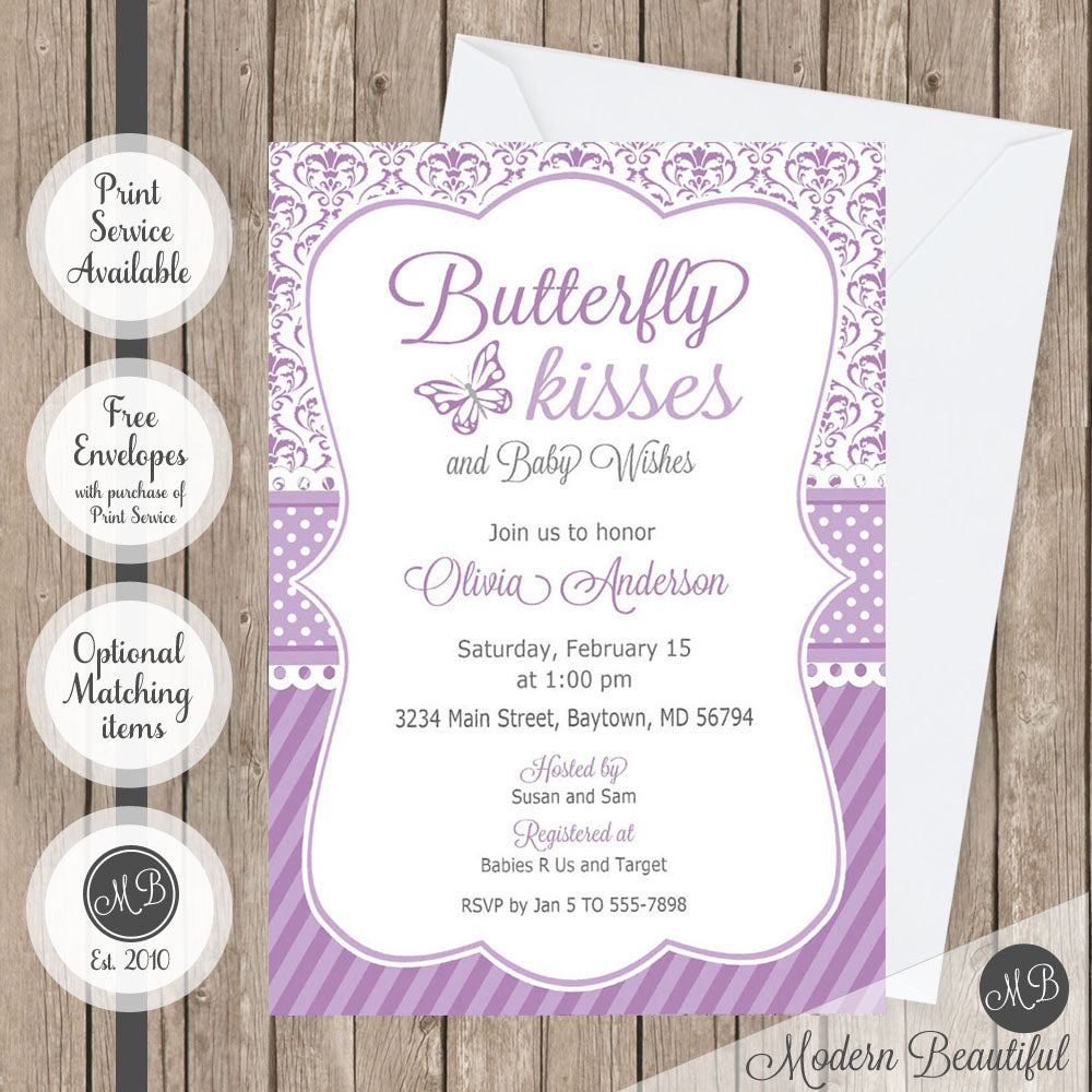 Purple And Gray Butterfly Kisses Baby Shower Invitation Butterfly