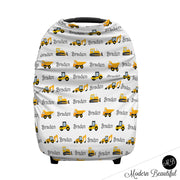 Construction dump truck baby boy or girl car seat canopy cover, bulldozer baby gift, yellow and black, custom infant car seat cover, personalized baby name carseat cover, nursing privacy cover, shopping cart cover, high chair cover (CHOOSE COLORS)