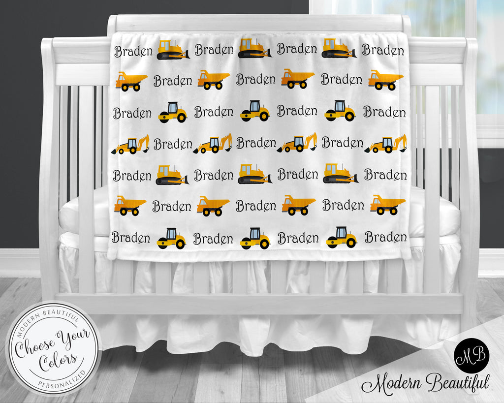 construction bulldozer baby blanket