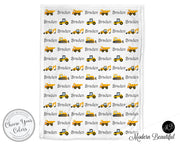 Construction baby boy blanket, yellow and white, bulldozer baby name blanket, custom dump truck personalized baby gift, swaddle baby blanket, personalized blanket, boy or girl blanket, choose colors