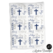 Copy of Cross baby name blanket, navy and gray, baptism baby blanket, baby swaddling blankets, baby girl or boy, baby name blanket, baby shower gift, (CHOOSE COLORS)
