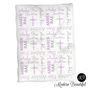Purple and gray girl baptism name blanket, purple and gray cross swaddling blanket, baby girl christening blanket, baptism baby blanket, christening baby shower gift, (CHOOSE COLORS)