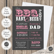 dad bbq baby and beer shower invitation