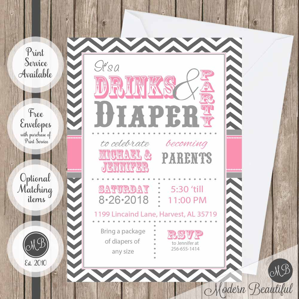 Pink and gray drinks and diaper party baby shower invitation ...