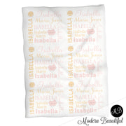 Baby girl pastel sunshine name blanket, sunshine swaddling blanket, baby girl cloud and sun pastel blanket, girl baby shower gift, choose colors