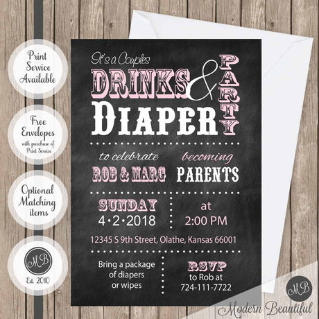 drinks and diapers baby shower invitation