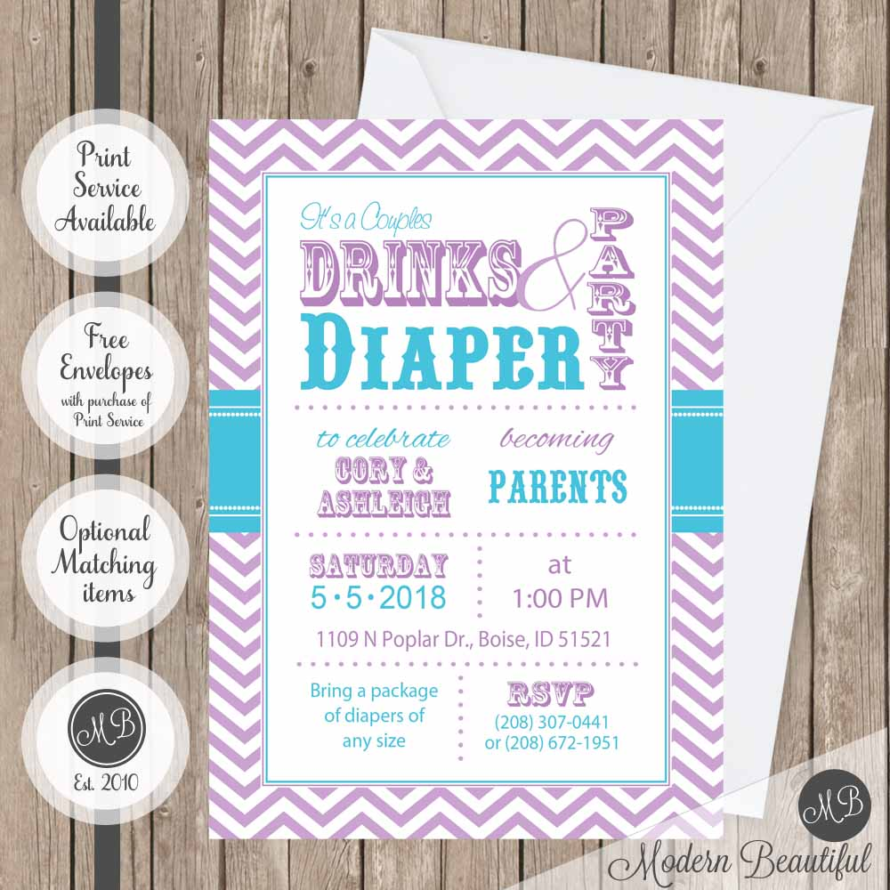 Purple And Blue Drinks Diaper Party Baby Shower Invitation Couples Girl Digital Or Printed