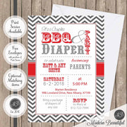 bbq and diaper baby shower invitation