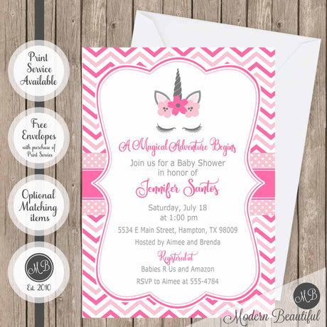 Gray and pink unicorn baby shower invitation, girl unicorn lashes baby shower invitation, magical baby shower invitation, girl baby shower invitation