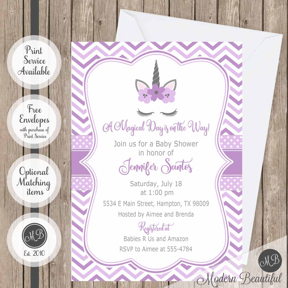Purple and gray unicorn baby shower invitation, girl unicorn lashes ...