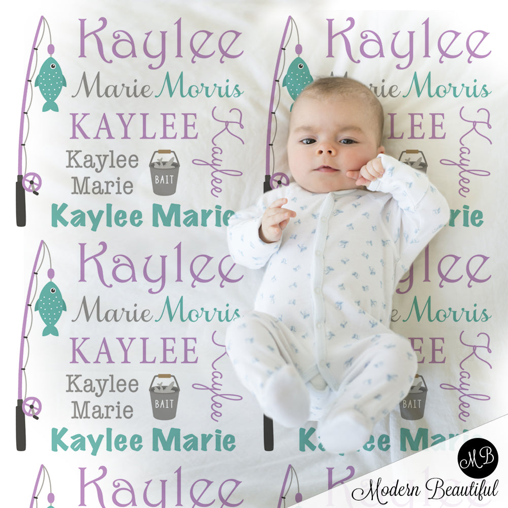 Fishing baby name blanket in teal and purple