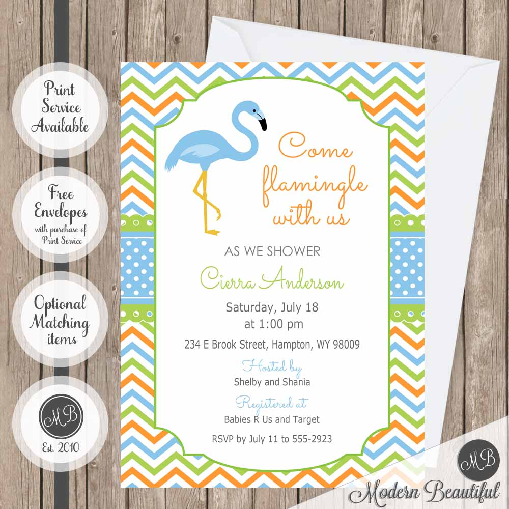 chevron flamingo baby shower invitations