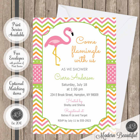 Orange, green and pink flamingo baby shower invitation, chevron girl flamingo baby shower invitation, flamingo theme baby shower invitation, girl baby shower invitation