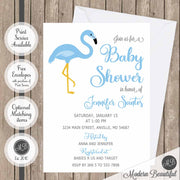 boy flamingo baby shower invitations
