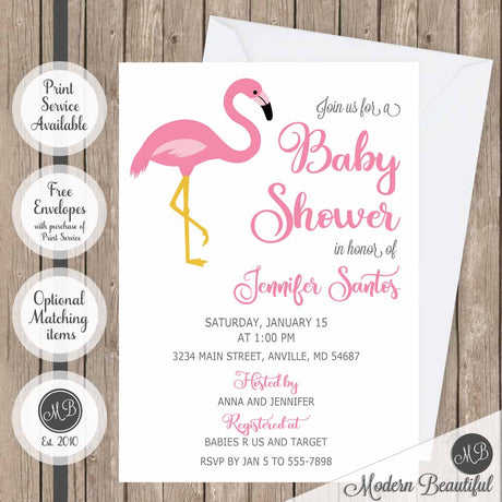 pink flamingo girl baby shower invitations